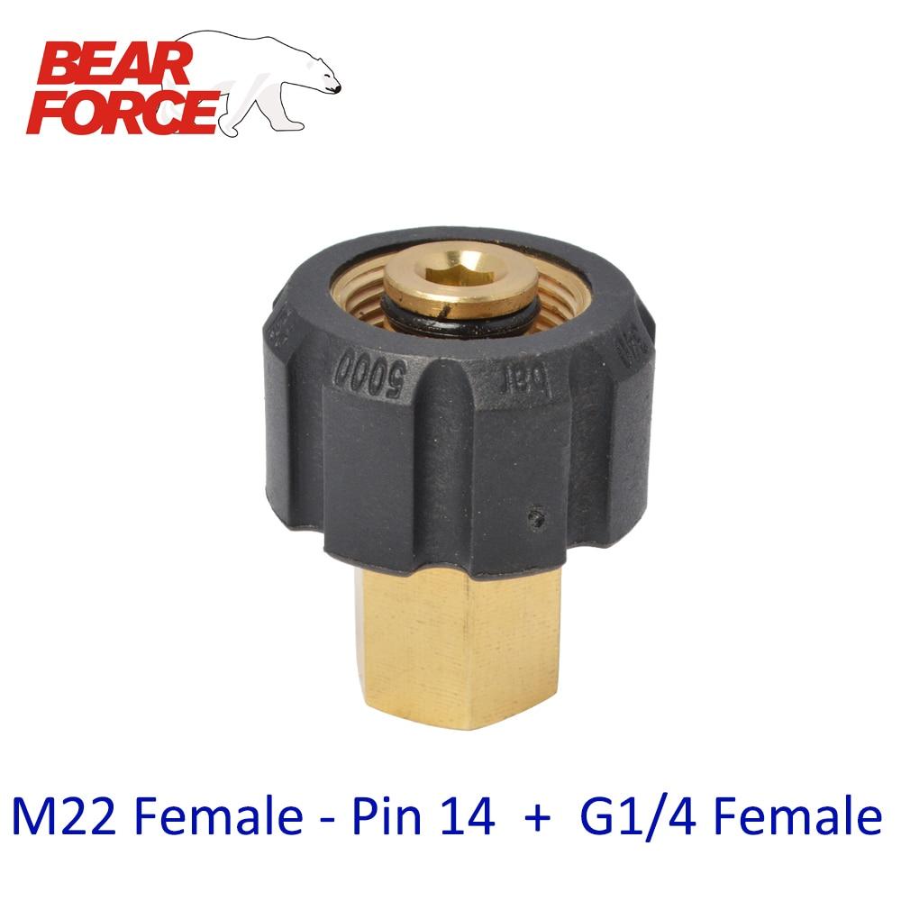 Adaptateur de connecteur M22 femelle + G1/4 femelle   Lave-linge à haute pression, lave-vaisselle de voiture, adaptateur de connecteur en laiton M22 femelle