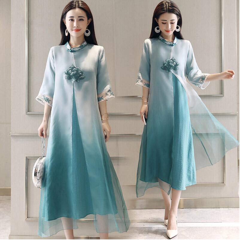 Vestido Cheongsam chinês Robe Vietnã Dai ao estilo vestido Chinês elegante bordado Lótus Qipao longo Cheongsam Moderno