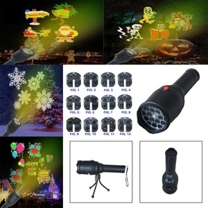 Festival Insert Card Projection Lamp 12pcs Cards LED Flashlight  Christmas Halloween Birthday Xmas Party Landscape Lighting
