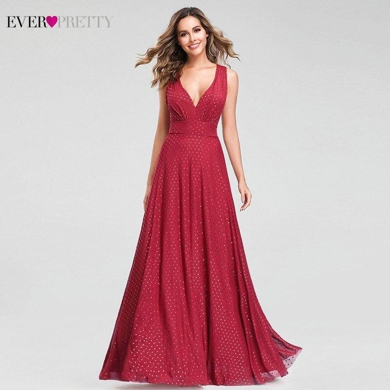 Punto Rojo vestidos De noche largo bonito una línea De cuello en V sin mangas vestidos De verano Sexy vestidos fiesta vestido De fiesta 2020