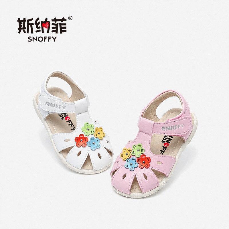 Snoffy niños niñas sandalias con flor verano Zapatos Niño Infante arco sandalias Fondo suave princesa sandalias de bebé para niños TX368