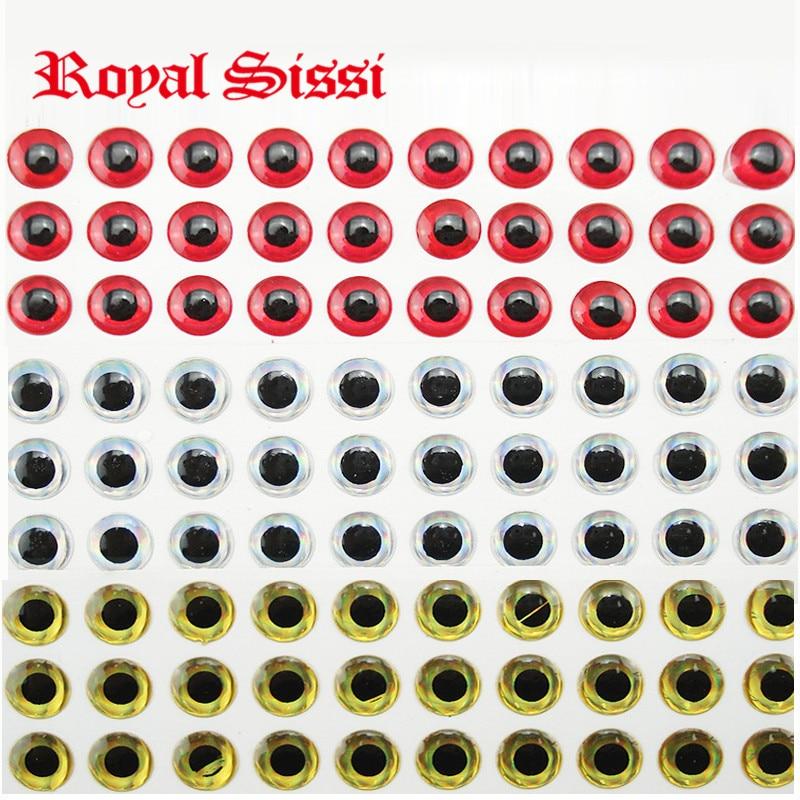 Royal Sissi 330pcs/set 3mm 5mm 7mm 9mm assorted bionic 3D epoxy lure fishing resin eyes 3 colors mixed fly tying baitfish eyes