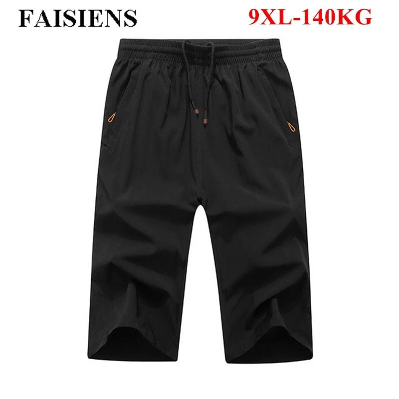 FAISIENS Loose Thin Summer Large Size 8XL 9XL Black Shorts Men Elastic Army Green Gray 6XL 7XL Solid Casual Men's Shorts