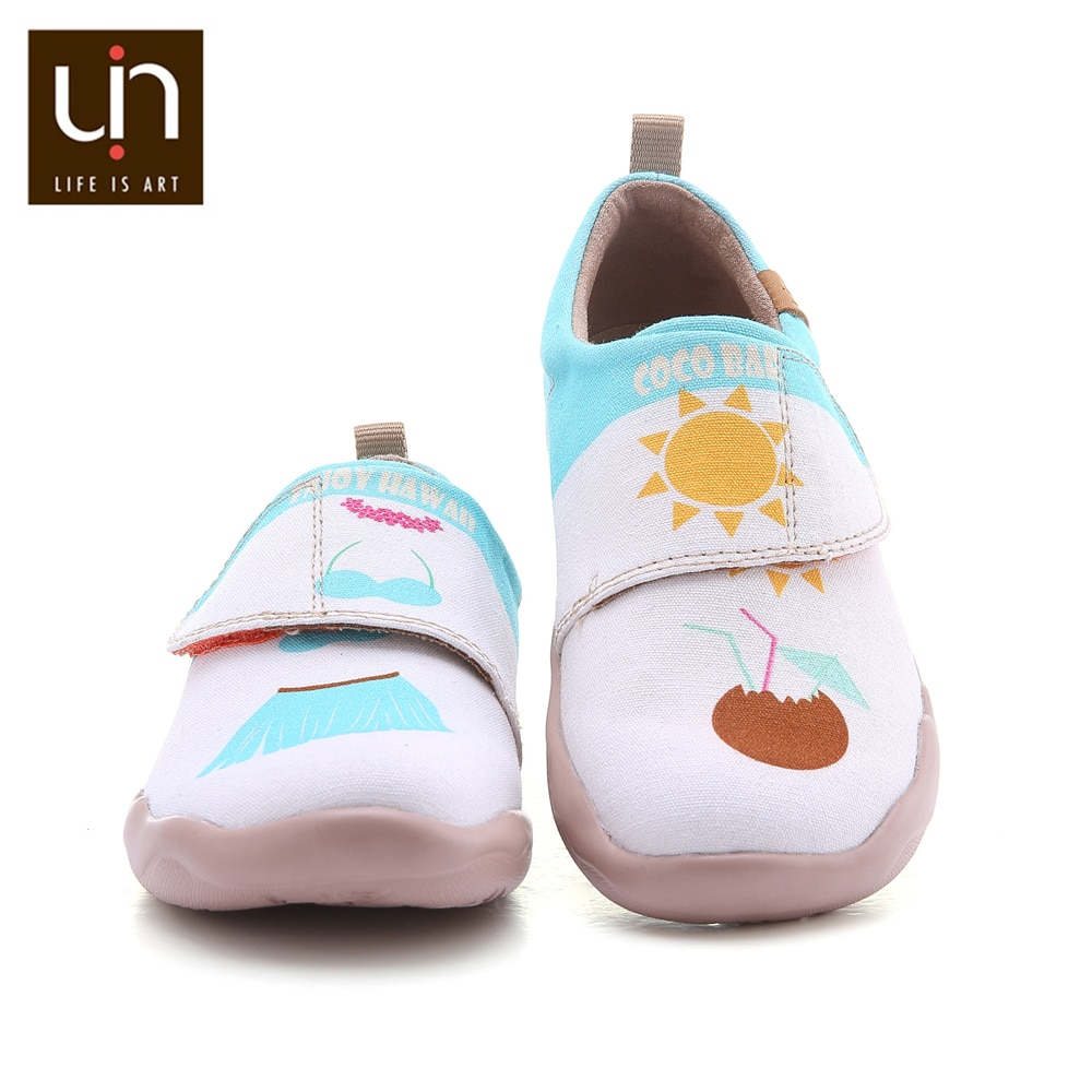 UIN Fun Beach Design Painted Casual Shoes for Toddlers Hook & Loop Canvas Soft Flats for Boys/Girls Outdoor Little Kids Shoes enlarge