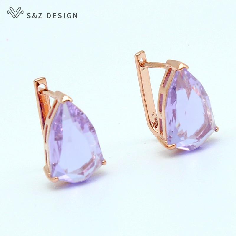S&Z 2019 Spring Summer 6 Color Water Drop Zircon Dangle Earrings 585 Rose Gold For Women Wedding Fine Luxury Trendy Jewelry