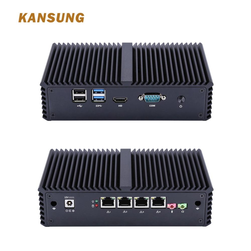 KANSUNG barato Mini PC Intel Core i5 4200Y AES-NI Nettop cliente Delgado 4 Lan Sin ventilador Firewall de Windows 10 Linux Mini PC personal