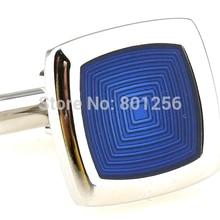 Free shipping Fashion Cufflinks  blue color enamel design copper material cufflinks wholesale&retail