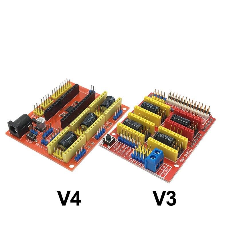 Cnc escudo v3/v4 máquina de gravura/impressora 3d/a4988/drv8825 stepper driver placa expansão v3.0 para arduino uno r3 nano