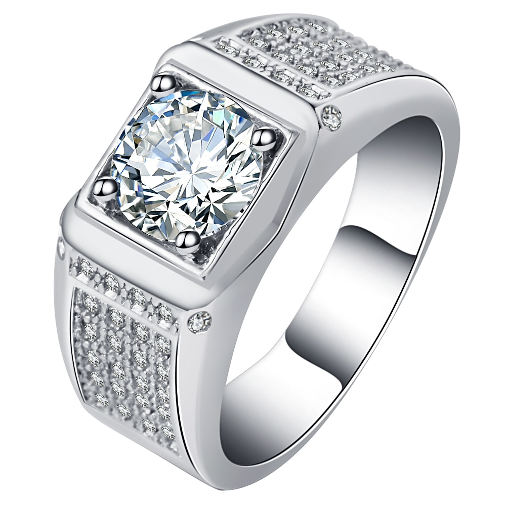 UFOORO Classical 8mm Wedding Ring For Men 2CT Claw Inlay 5A Crystal CZ Stone Fashion jewelry Love Valentine Gift Size 6-10