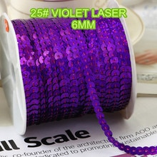 100 Yards 6mm Laser Bright Pailletten Trim, Verkocht per Pakket van 1 Rol (100 Yards) -25 # violet laser pailletten lint