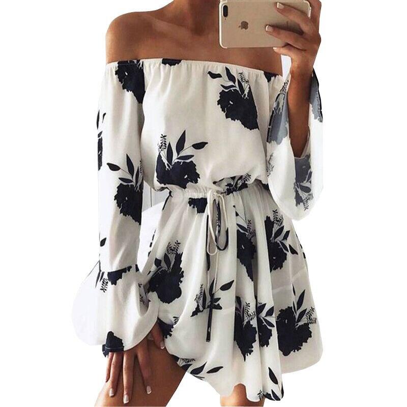 Vestidos de verão 2019 de Moda de Nova Barra Neck Floral Imprimir Sexy Fora Do Ombro Vestidos Casuais Praia Boho Vestido Branco