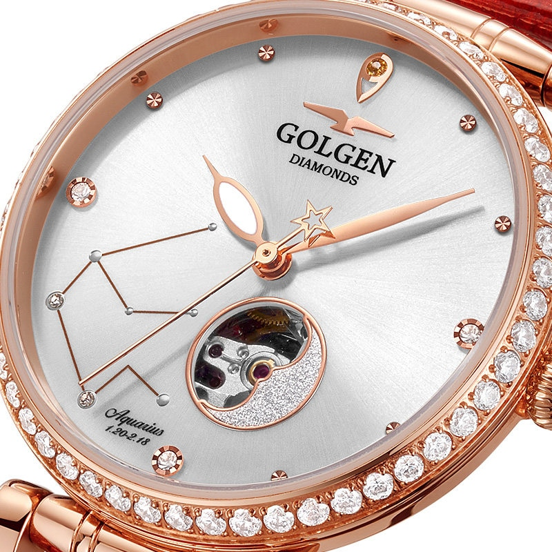 GOLGEN Watch for Women Mechanical Watches 12 Horoscope Waterproof  Skeleton Automatic Wristwatch Gift enlarge