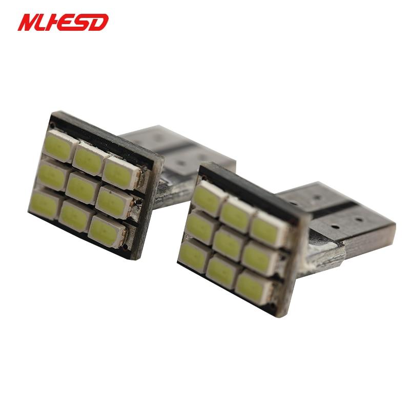 10pcs T10 LED Wedge Light Bulb 9 SMD 1210 LED W5W 2825 158 192 168 car parking light auto Dashboard Indicator Instrument Lights
