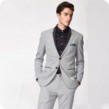 New Fashion Two Buttons Light Grey Groom Tuxedos Groomsmen Peak Lapel Mens Suits Blazers (Jacket+Pants+Tie) W:799