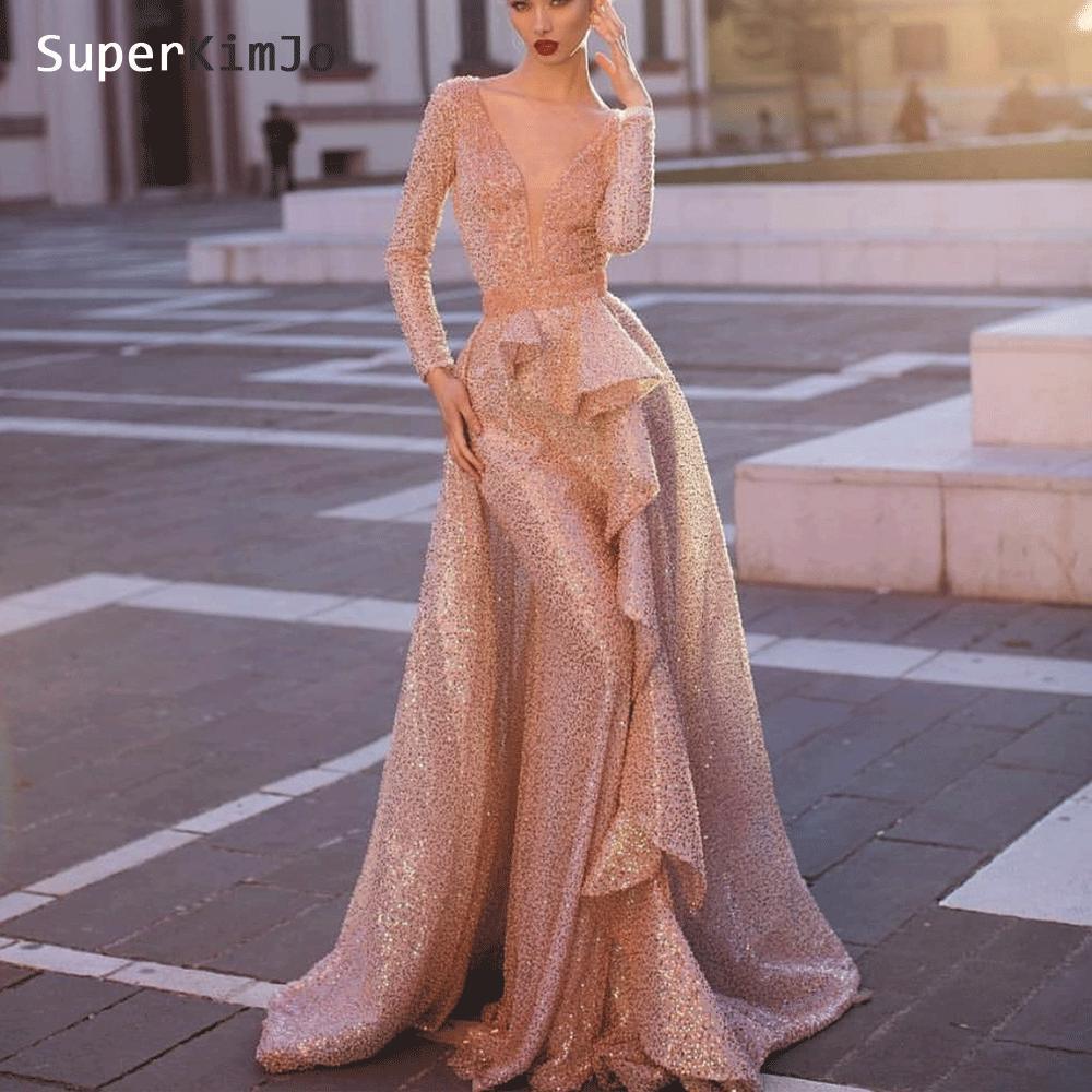 Rose Sequin Evening Dresses 2019 Deep V Neck Detachable Skirt Luxury Sparkle Evening Gown