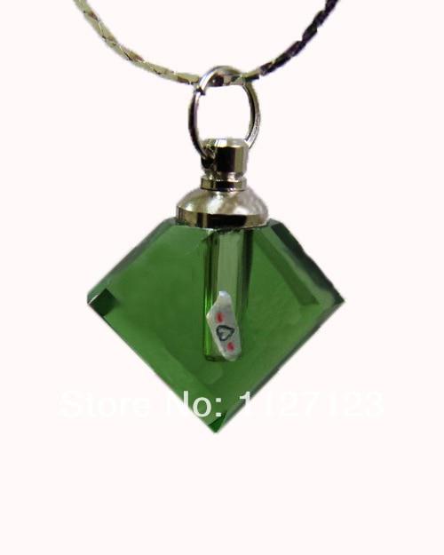 25pcs/lot green Flat prismatic Rice vials pendants rice vial pendant perfume empty glass bottle glass spray perfume bottl
