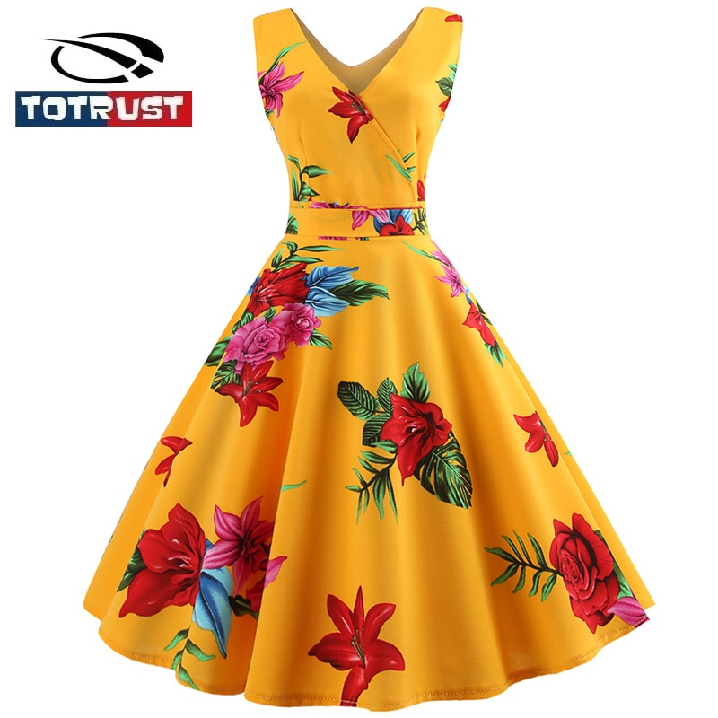 TOTRUST Vestido estampado Floral vestidos casuales Vestido de mujer 2018 Casual mujeres elegante Chaleco de moda vestidos sin mangas vestidos de fiesta