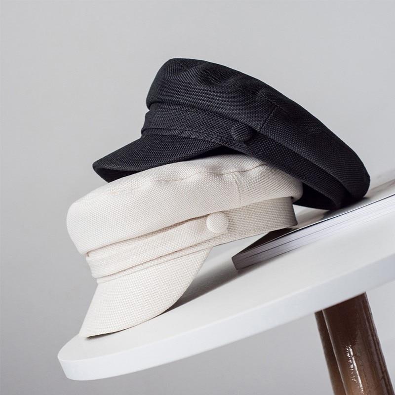 кепи картуз женский фуражка весенние шапки для женщин женские кепки кепка женская Для женщин шапка, кепка военные Кепки Демисезонный Лен восьмиугольная однотонная бейсболка с плоской верхней армейские кепки молод шляпа