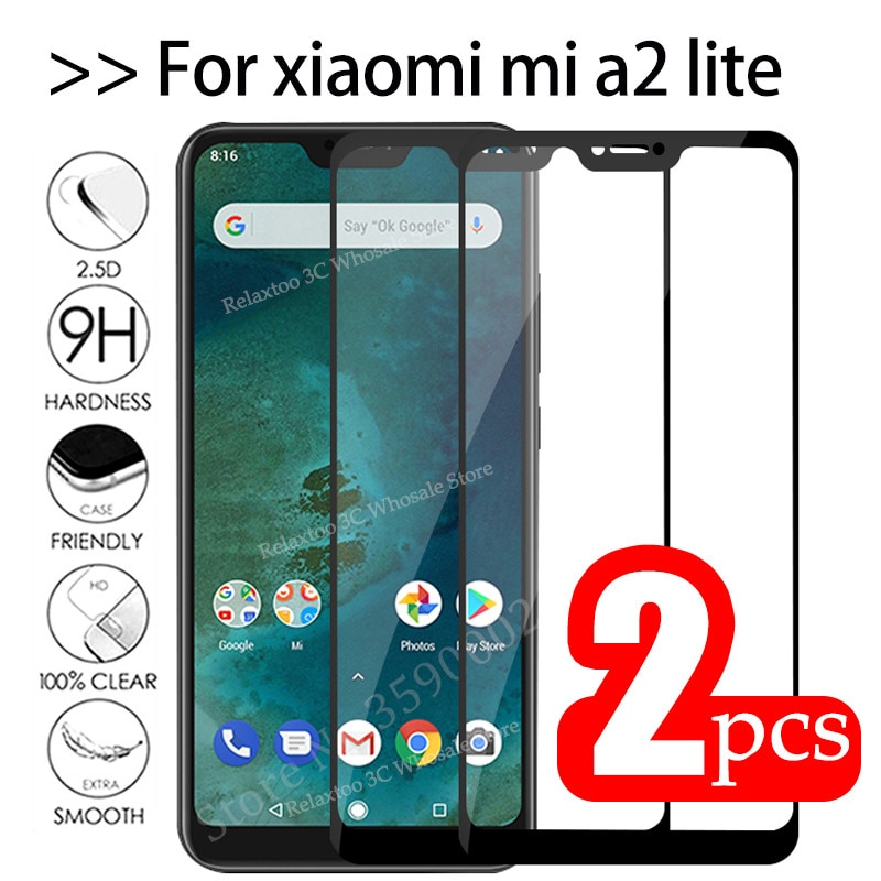 2pcs Mi A2 Lite Glass Tempered Glas For xiaomi mi a2 lite protective Glass on Xiomi Mia2 A2lite Mia2
