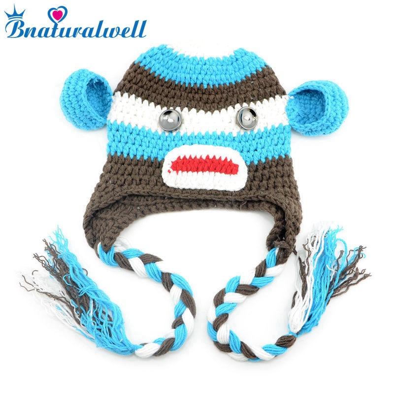 Bnaturalwell Designs Adorável Animal Crochet Chapéu Do Bebê Beanie com Fotos Props H150S Macaco de Malha chapéu Crianças tampão do algodão para o inverno