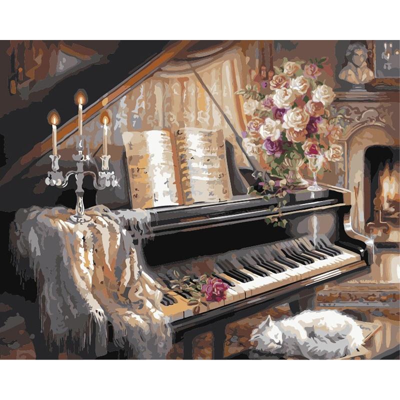 Pintura por números DIY Dropshipping. Exclusivo. 40x50x60x75cm gato durmiendo y piano lienzo de bodegón decoración de la boda regalo de arte
