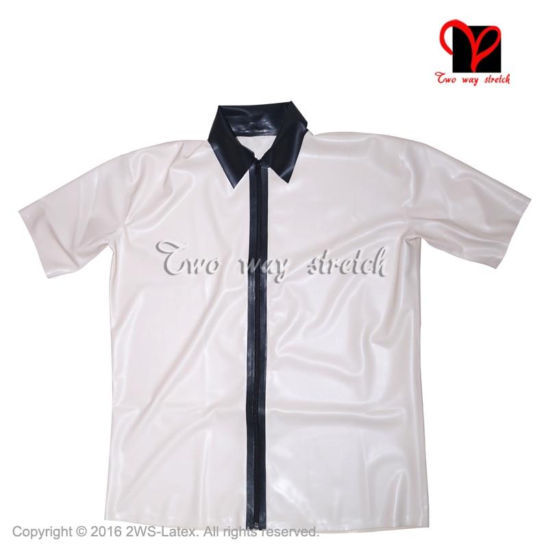 Sexy White black Latex shirt Rubber coat jacket Gummi blouse short sleeves Top Uniform zipper At front size XXXL SY-052
