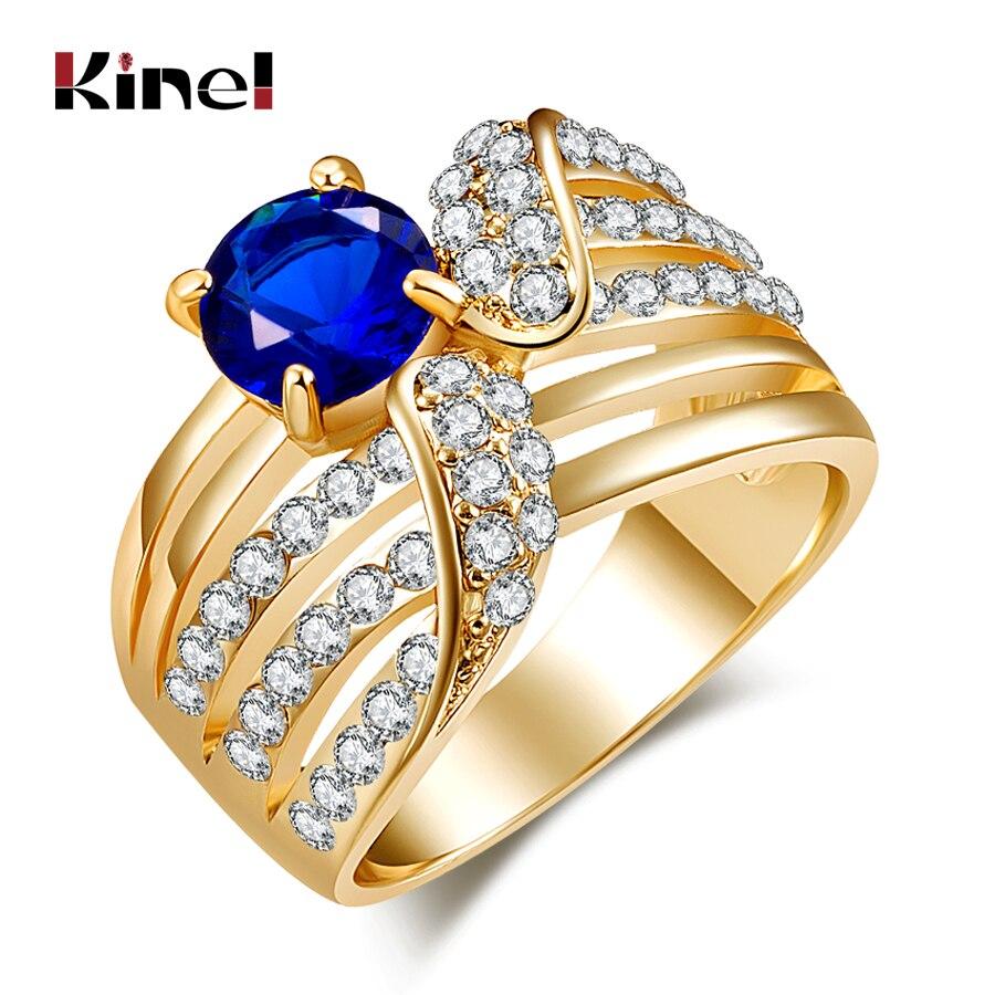 Kinel, anillos Vintage de moda, cubierta de Gema azul incrustada, cristal blanco antiguo, Color dorado, joyería para mujer, decoración de boda