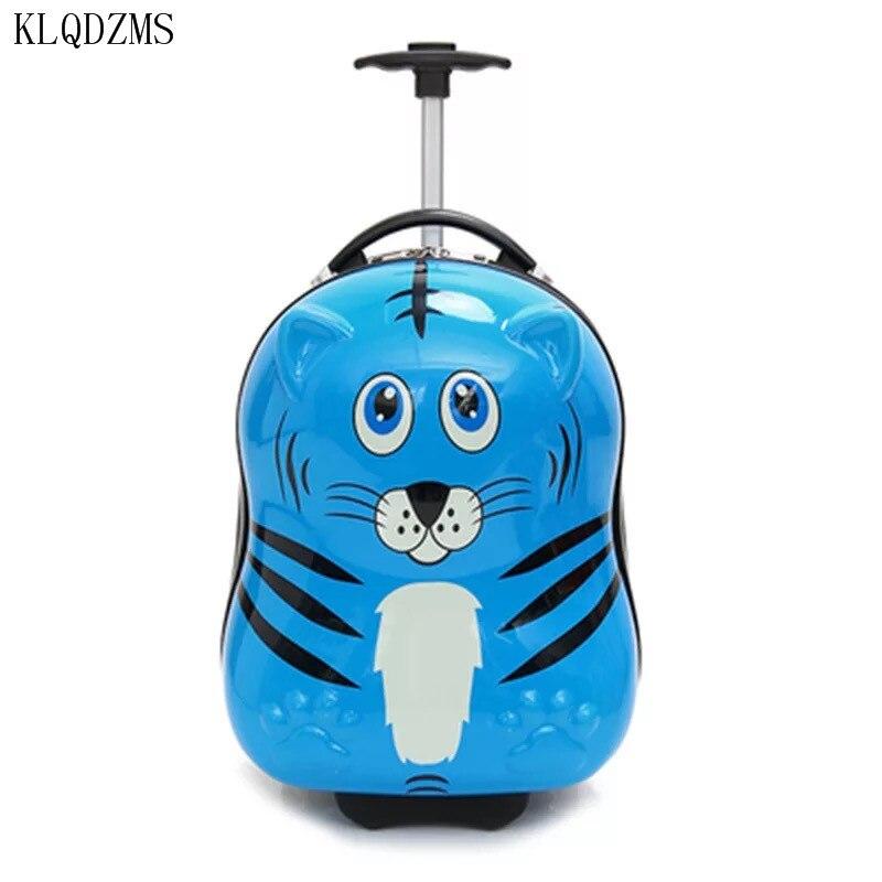 Mala de Viagem do Trole da Bagagem dos Desenhos Animados de Rodas Klqdzms Animais Crianças Bagagem Rolando 3d pc
