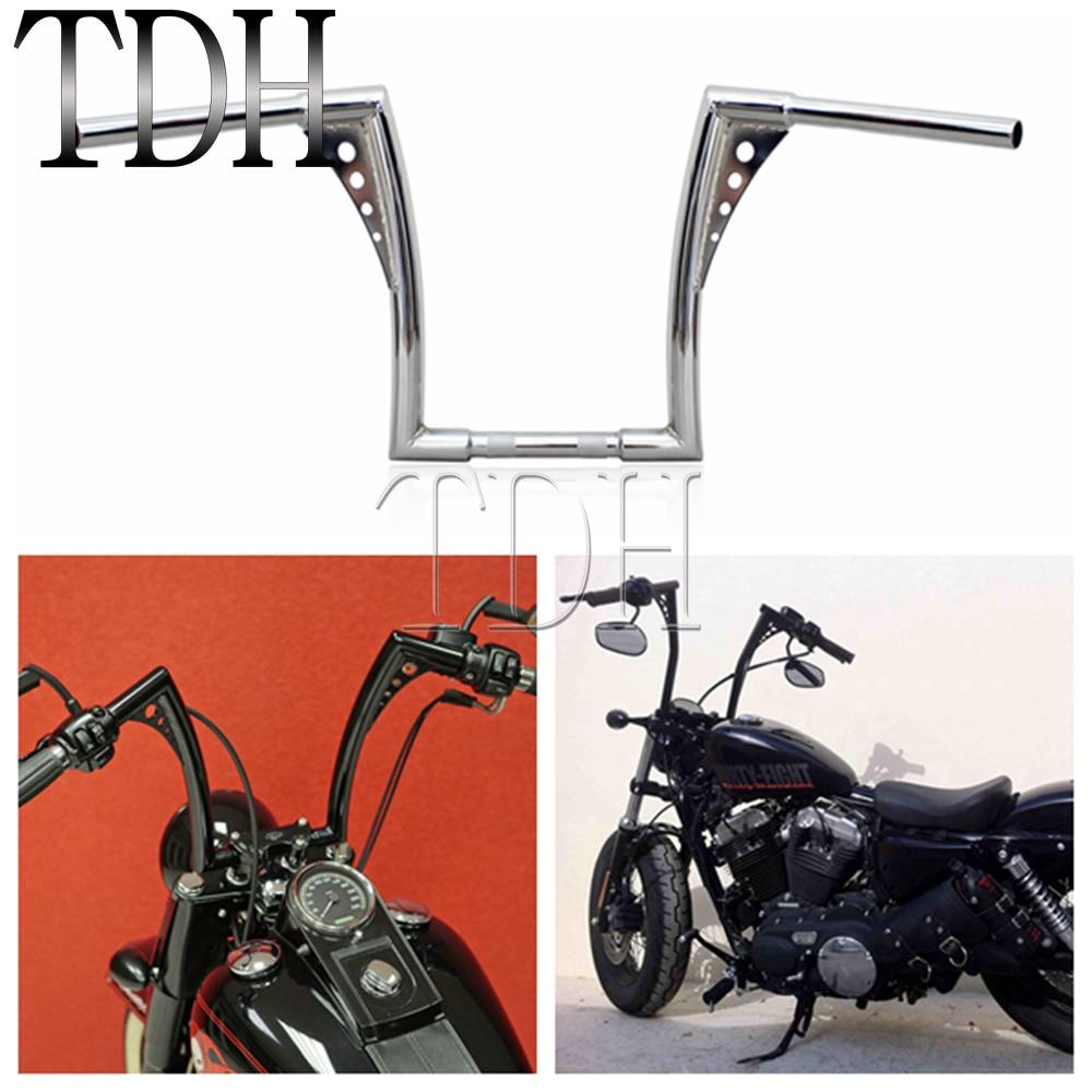 "12 ""Rise 1-1/4"" широкий Драг бар хром черный мотоцикл руль APE вешалка толстой бар для Harley Sportster Touring Dyna FLST FXST"