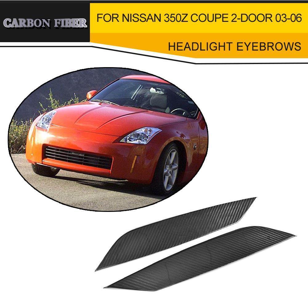 Parpados para faros delanteros de fibra de carbono seco para Nissan 350Z Coupe 2 puertas 2003 2004 2005 2006 negro FRP