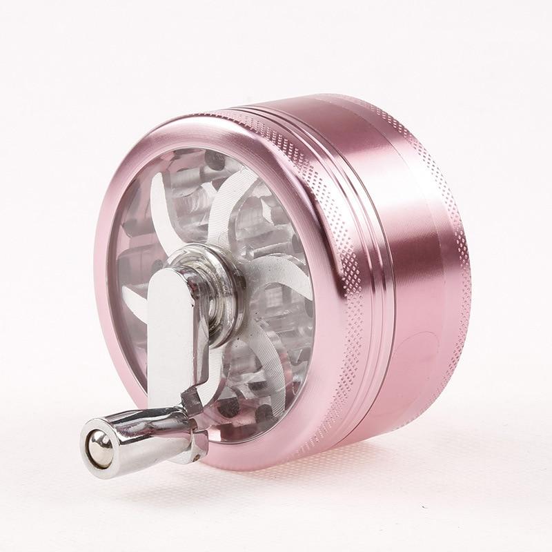 Encendedores y accesorios para fumar, diámetro de 63 mm3 niveles de aleación de aluminio niveles de onda amoladora de hierbas con mango