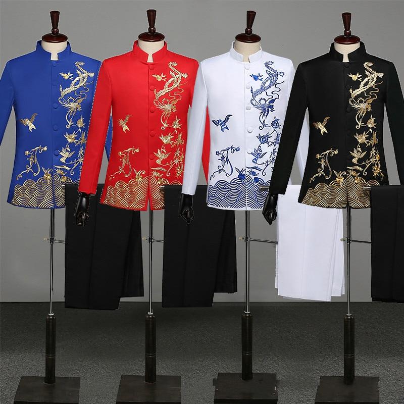 بدلة مطرزة على الطراز الصيني زي تنكري لمرحلة الذكور بدلة تونك صينية تقليدية بياقة ثابتة بدلة جوقة رسمية تشونغ شان