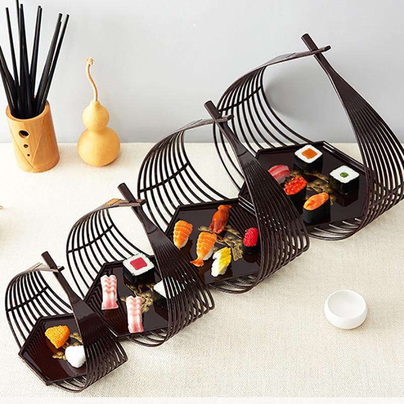 Bandeja Hexagonal para Platos de Sushi, bandeja Hexagonal para Platos de Sushi, Platos de Tempura, plato japonés, vajilla decorativa para cesta de mano, vajilla, 1 Uds