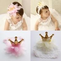 new pink and beige crown flowers hairbands girls headwear children headbands elastic hair band kids hair accessories