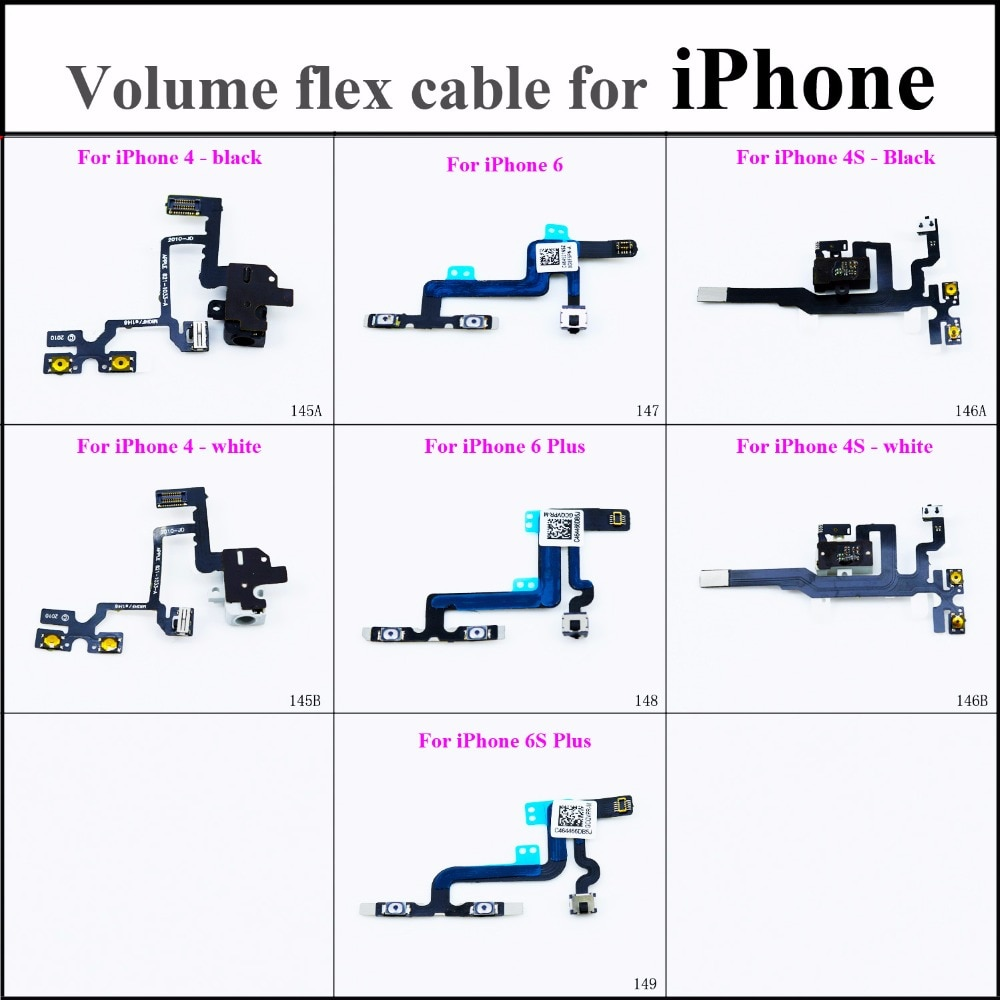 Para iPhone 4/4S negro/blanco para iPhone 6/6Plus 6S Plus botón de Control de volumen interruptor de bloqueo silencioso conector de cable Flex Repair