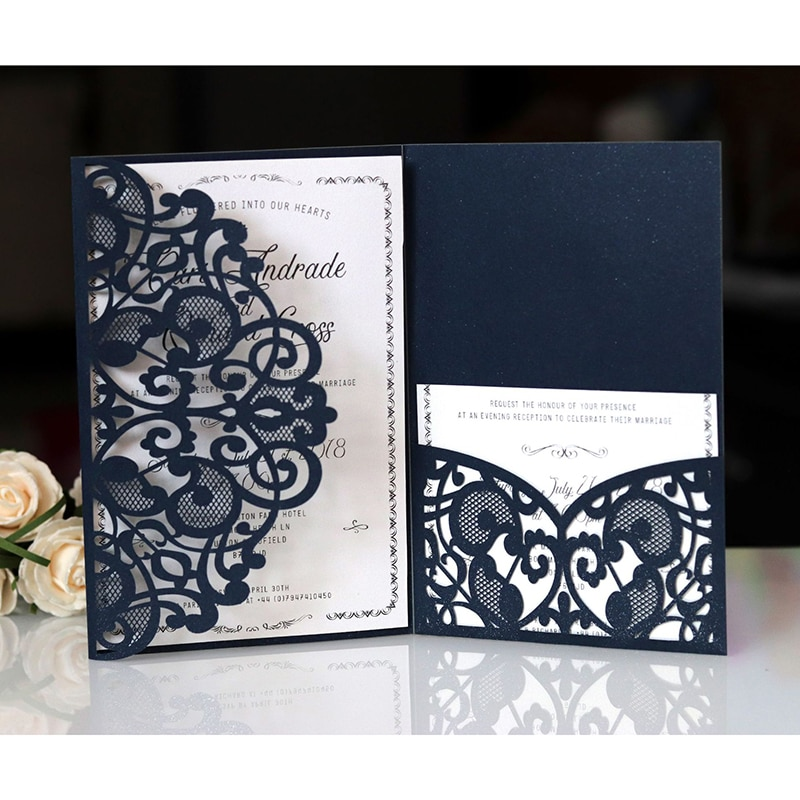 1pcs Blue White Elegant Laser Cut Wedding Invitation Cards Greeting Card Customize Business With RSVP Cards Decor Party Supplies rsvp