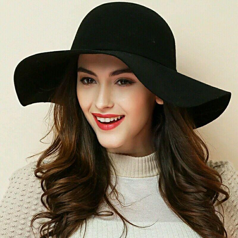 (13 Colors)High Quality 100% Wool Fashion New Vintage Women Ladies Floppy Wide Brim Wool Felt Fedora Cloche Hat Cap