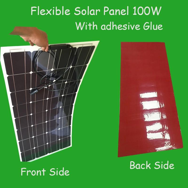 Panel Solar Flexible con adhesivo directo 100W vatios 12 V, panel solar semiflexible, célula solar monocristalina