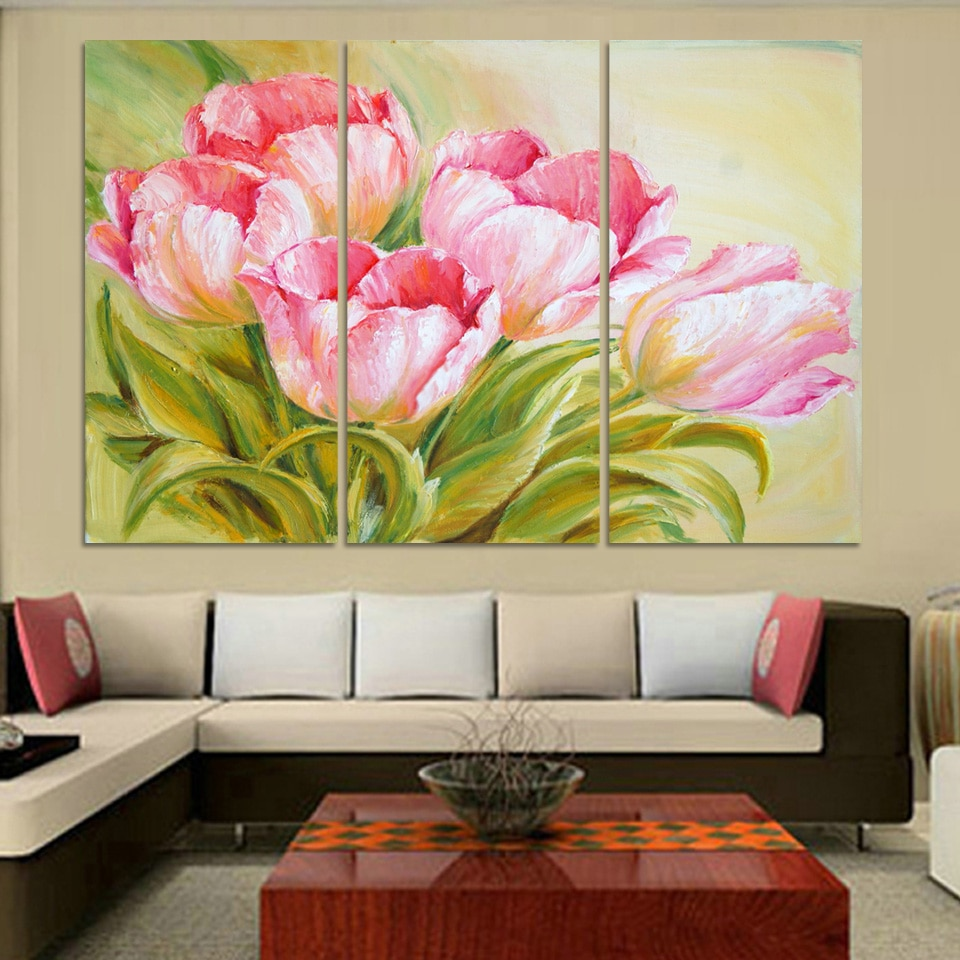 Luxry Hot Sell Modern Oil Painting Tulip Flowers Home Wall Art Picture Paint On Canvas Prints 3 Pieces Free Shipping Popular