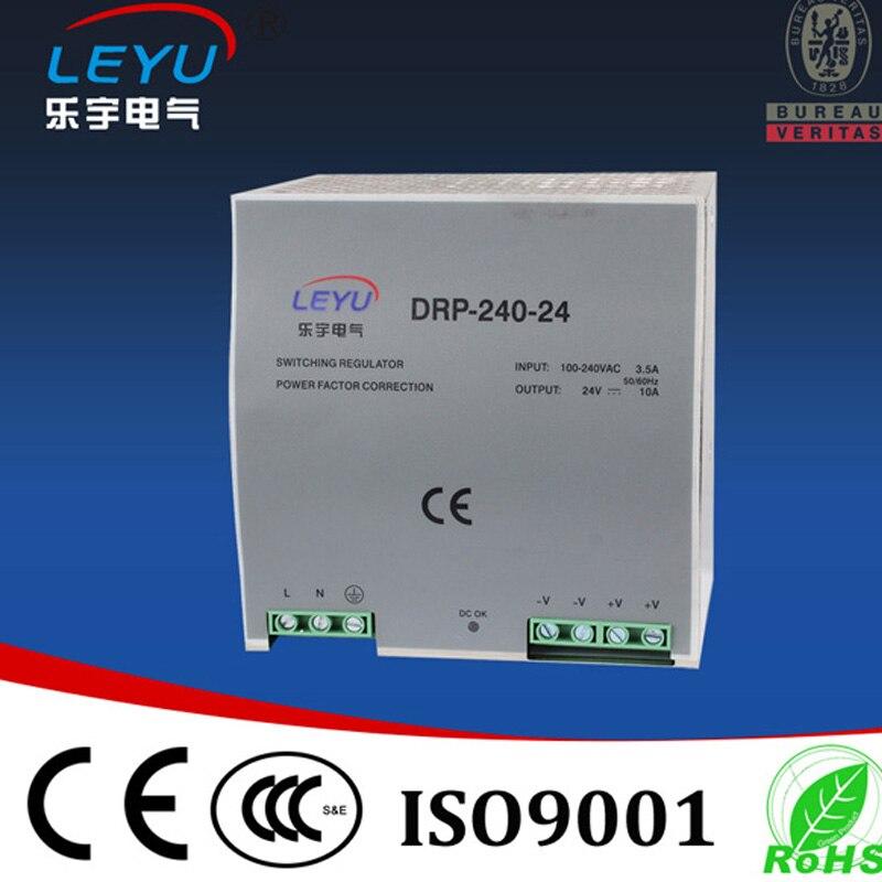 Marca de LEYU CE RoHS aprobación DR-240-48 fuente de alimentación de carril din de alta calidad con función PFC y entrada de voltaje ancho-VAC