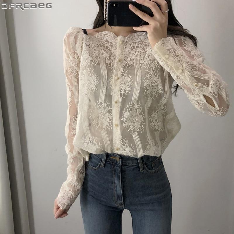 AliExpress - Sexy Off Shoulder Lace Top 2020 New Autumn Fashion Ladies Blouse Long Sleeve Elegant Woman Shirt Casual Blusa Feminina Strapless