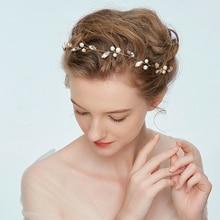 Charm Bridal Hair Accessories Gold Vine Crystal Rhinestone Pearl  Handbands for Women Wedding Tiara and Crown Jewelry Headdress