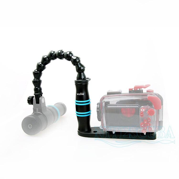 Scuba buceo Loc línea Flexible brazo ligero mango bandeja soporte YS montaje para Gopro TG5 RX100 Cámara vivienda fotografía subacuática