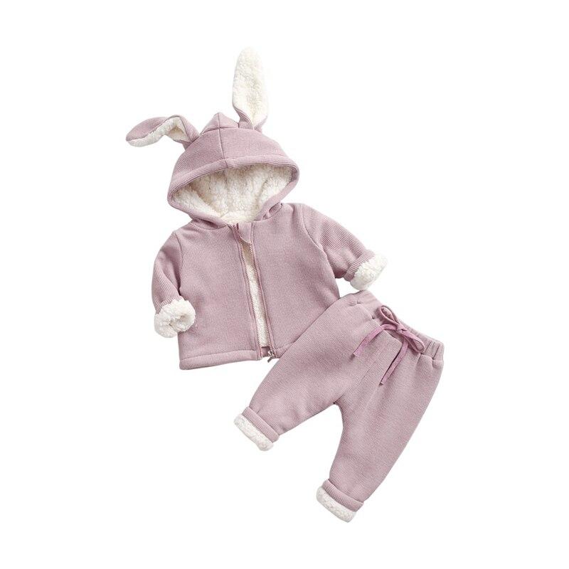 Baby Clothing Sets Plus Velvet Rabbit Ears Hooded Jackets Pants 2pcs Girls Boys Clothing Kids Fashion Suits
