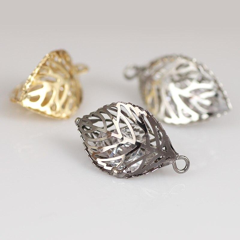 Joyería de plata 925, 14X25MM, 10 unids/lote, cuentas de hoja de cobre de gran tamaño, Color plateado, conectores de hojas de árbol para Pendientes colgantes