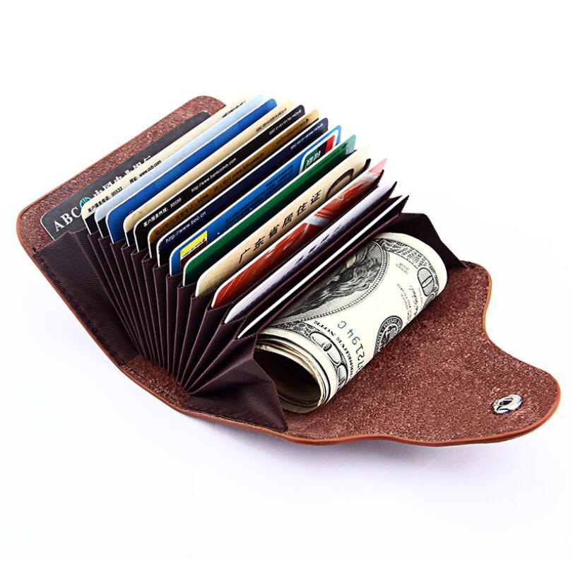 Vintage cuero tarjeta de crédito Id titular seguro Mini Tarjeta de manga organizer viaje negocios cuero dinero Bolso pequeño monedero