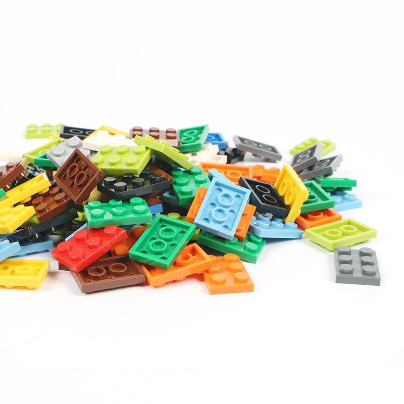 2*3 ladrillos cortos 100 g/lote tablero básico de bloques de construcción creativo a granel colorido DIY ciudad juguetes para niños y niñas