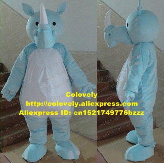Disfraz de Mascota de rinoceronte azul elegante para bebé, piel azul, vientre blanco grande, ojos negros pequeños, No.4778 FS