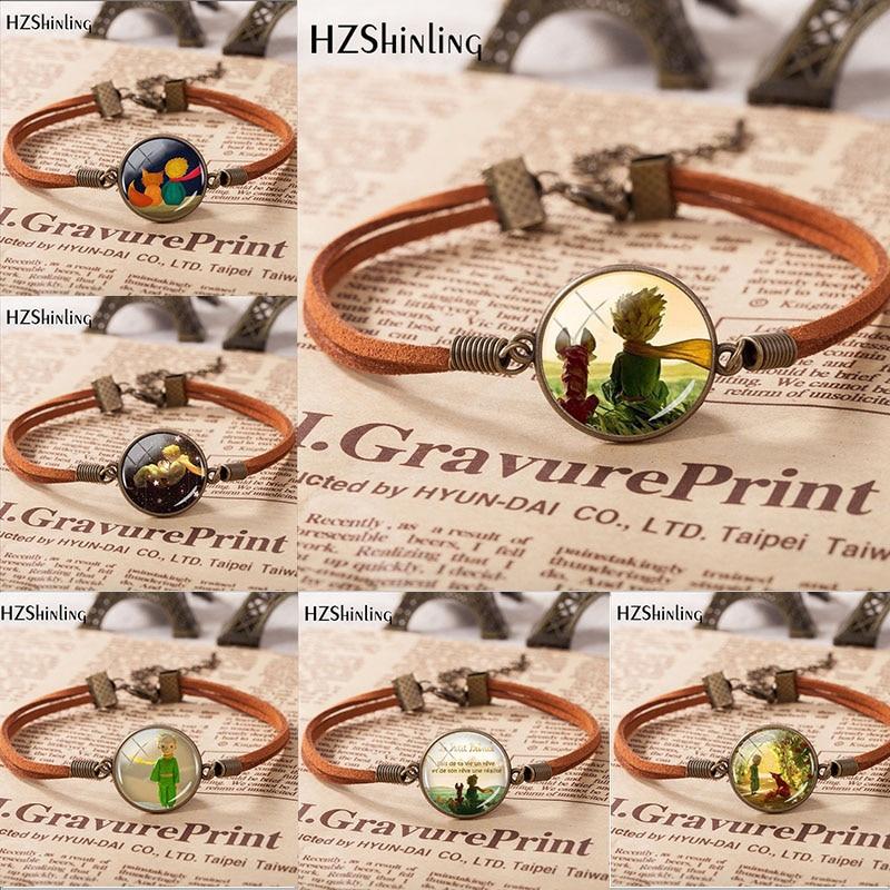 HZSHINLING Hot Sale Fashion Little Princes Leather Bracelet Hand Craft Glass Pendant Bracelet Mens Ladies Fashion Jewelry Gift