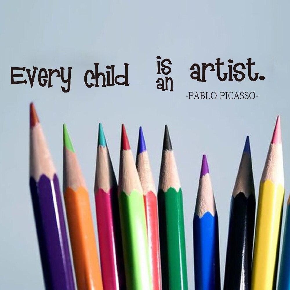 Каждый ребенок является художником Цитата стикер на стену ребенок питомник Пабло Пикассо Цитата настенные наклейки для детской комнаты ле...